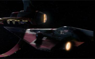 L'enclenchement du vaisseau dans l'anneau d'hyperpropulsion © Lucasfilm