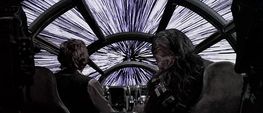 Le Faucon Millenium en pleine vitesse lumière © Lucasfilm