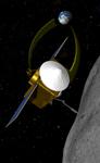 Vue d'artiste d'OSIRIS-REX récoltant un échantillon © NASA