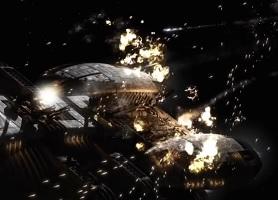 Une bataille dans la série Battlestar Galactica © NBC Universal, British Sky Broadcasting